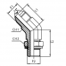 Адаптер 45° с JIC и регулируемой дюймовой внешней резьбами