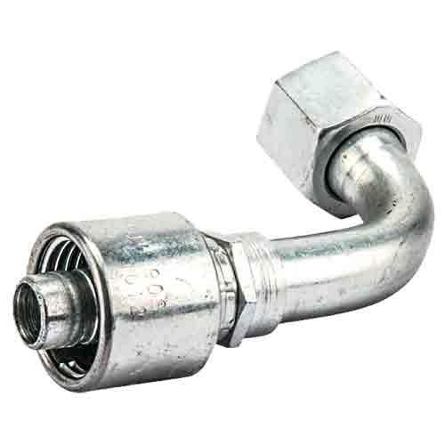 Фитинг стальной, угол 90° с коротким отводом и внутренней UNF резьбой, конус  JIC37°